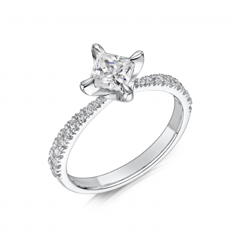 0.6 Carat GIA GVS Diamond solitaire 18ct White Gold. Princess cut Engagement Ring, MWSS-1195/040